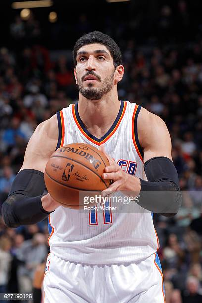 Enes Kanter of the Oklahoma City Thunder attempts a free throw shot against the Sacramento Kings on November 23 2016 at Golden 1 Center in Sacramento...