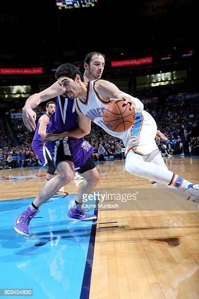 Enes Kanter of the Oklahoma City Thunder drives to the basket during the game against the Sacramento Kings on January 4 2016 at Chesapeake Energy...