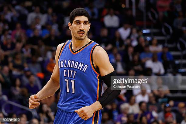 Enes Kanter of the Oklahoma City Thunder during the NBA game against the Phoenix Suns at Talking Stick Resort Arena on February 8 2016 in Phoenix...