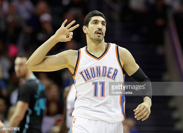 Enes Kanter of the Oklahoma City Thunder during their game at Spectrum Center on January 4 2017 in Charlotte North Carolina NOTE TO USER User...