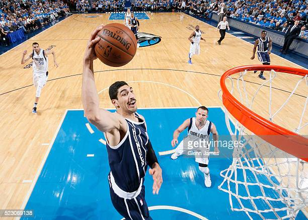Enes Kanter of the Oklahoma City Thunder grabs a rebound against the Dallas Mavericks in Game Three of the Western Conference Quarterfinals of the...