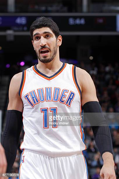 Enes Kanter of the Oklahoma City Thunder looks on during the game against the Sacramento Kings on November 23 2016 at Golden 1 Center in Sacramento...