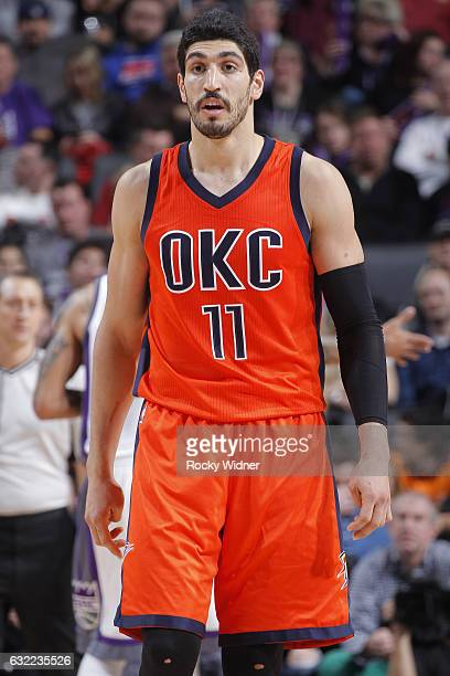 Enes Kanter of the Oklahoma City Thunder looks on during the game against the Sacramento Kings on January 15 2017 at Golden 1 Center in Sacramento...