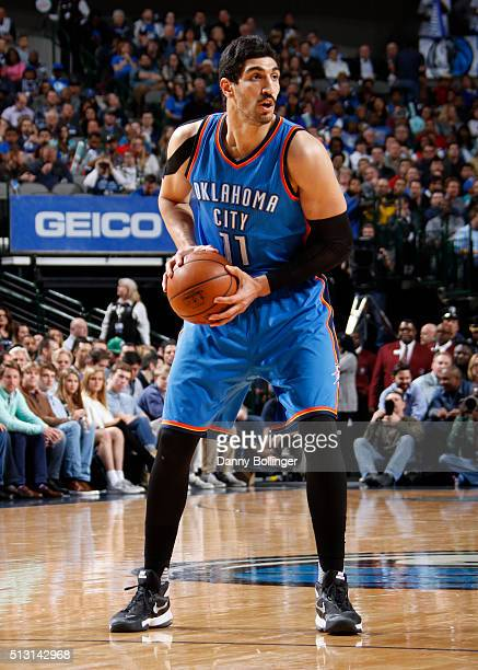 Enes Kanter of the Oklahoma City Thunder looks to pass the ball against the Dallas Mavericks on February 24 2016 at the American Airlines Center in...