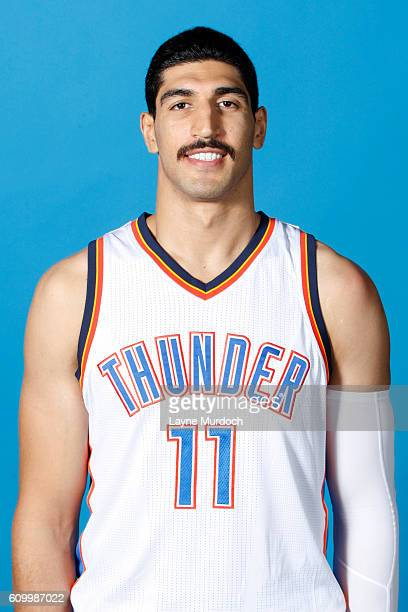 Enes Kanter of the Oklahoma City Thunder poses for a head shot during 2016 NBA Media Day on September 23 2016 at the Chesapeake Energy Arena in...