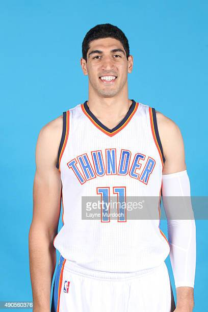 Enes Kanter of the Oklahoma City Thunder poses for a portrait during 2015 NBA Media Day on September 28 2015 at the Thunder Events Center in Edmond...