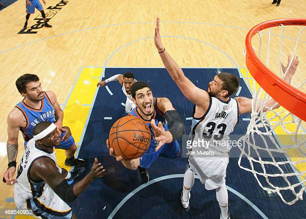 Enes Kanter of the Oklahoma City Thunder shoots against the Memphis Grizzlies on April 3 2015 at FedExForum in Memphis Tennessee NOTE TO USER User...