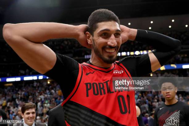 Enes Kanter of the Portland Trail Blazers celebrates their win against the Denver Nuggetts during Game Seven of the Western Conference SemiFinals of...