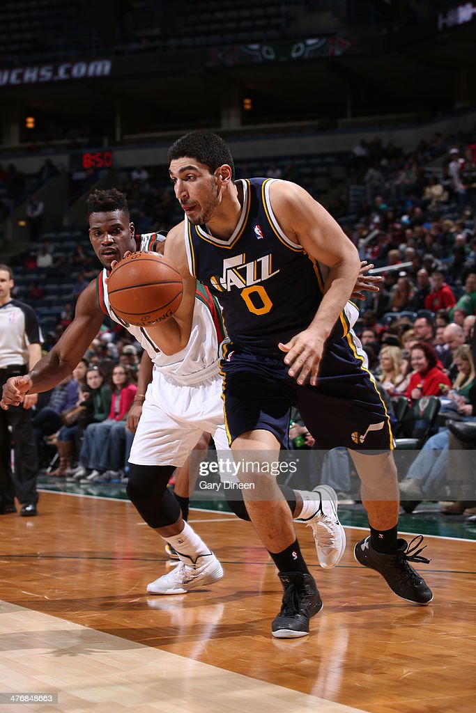 Enes Kanter #0 of the Utah Jazz drives against the Milwaukee Bucks on March 3, 2014 at the BMO Harris Bradley Center in Milwaukee, Wisconsin.