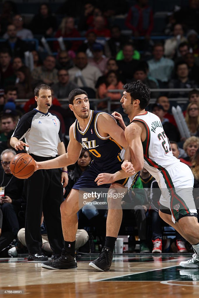 Enes Kanter #0 of the Utah Jazz handles the ball against the Milwaukee Bucks on March 3, 2014 at the BMO Harris Bradley Center in Milwaukee, Wisconsin.