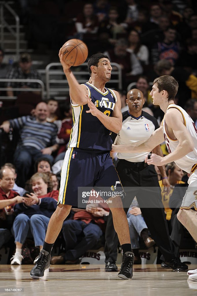 Enes Kanter #0 of the Utah Jazz passes the ball against the Cleveland Cavaliers at The Quicken Loans Arena on March 6, 2013 in Cleveland, Ohio.