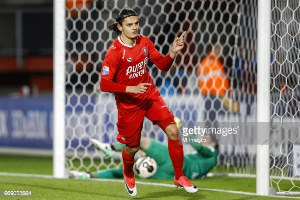 Enes Unal of FC Twente scored Joris Delle of NEC Nijmegenduring the Dutch Eredivisie match between FC Twente and NEC Nijmegen at the Grolsch Veste on...