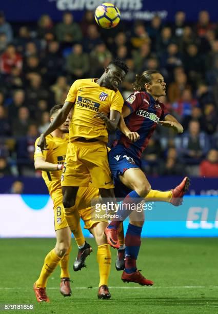 Enes Unal of Levante UD and Thomas Partey of Club Atletico de Madrid in action during the La Liga match between Levante UD and Club Atletico de...