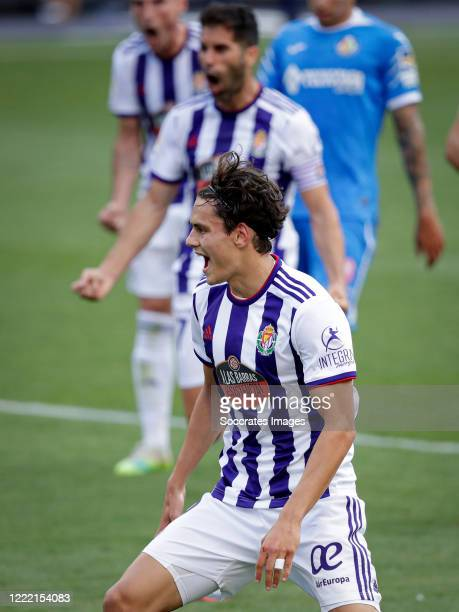 Enes Unal of Real Valladolid celebrates 1-1 during the La Liga Santander match between Real Valladolid v Getafe at the José Zorrilla stadium on June...