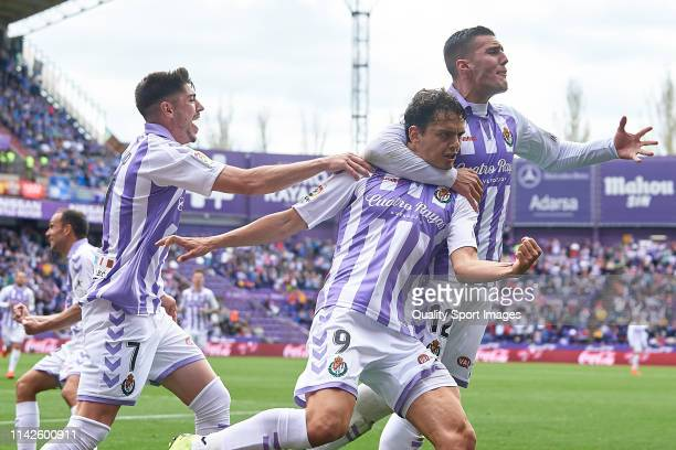 Enes Unal of Real Valladolid celebrates after scoring his team's second goal with his teammate Sergi Guardiola during the La Liga match between Real...