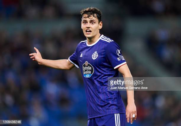 Enes Unal of Real Valladolid CF reacts during the Liga match between Real Sociedad and Real Valladolid CF at Estadio Anoeta on February 28 2020 in...