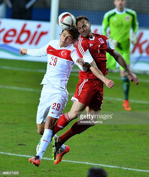 Enes Unal of Turkey in action during international friendly football match between Luxembourg and Turkey at Josy Barthel Stadium in Luxembourg on...