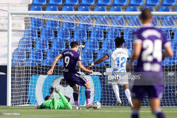 Enes Unal of Valladolid scores his sides first goal during the Liga match between CD Leganes and Real Valladolid CF at Estadio Municipal de Butarque...