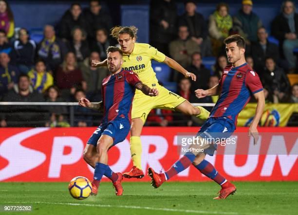 Enes Unal of Villarreal CF and Antonio Luna of Levante Union Deportiva during the La Liga match between Villarreal CF and Levante Union Deportiva at...