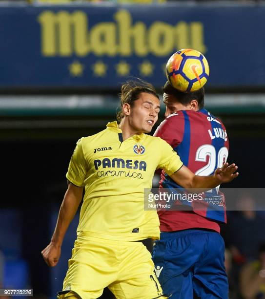 Enes Unal of Villarreal CF and Sasa Lukic of Levante Union Deportiva during the La Liga match between Villarreal CF and Levante Union Deportiva at...