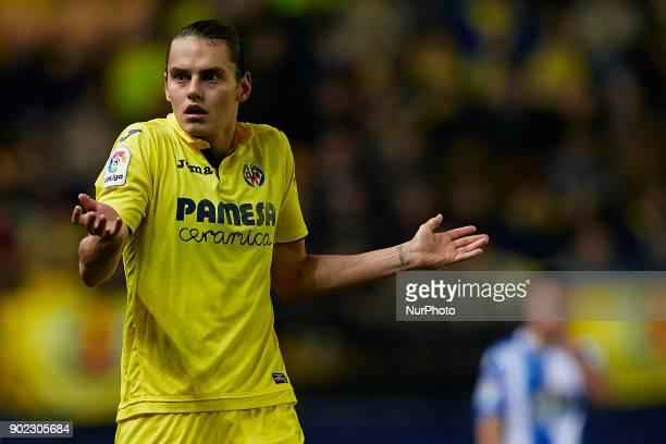 Enes Unal of Villarreal CF reacts during the La Liga game between Villarreal CF and Deportivo La Coruna at Estadio de la Ceramica on January 7 2018...
