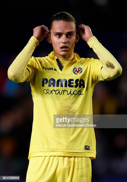 Enes Unal of Villarreal looks on during the Copa del Rey Round of 16 second Leg match between Villarreal CF and Leganes at Estadio de La Ceramica on...