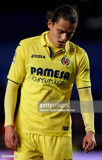 Enes Unal of Villarreal reacts during the Copa del Rey Round of 16 second Leg match between Villarreal CF and Leganes at Estadio de La Ceramica on...