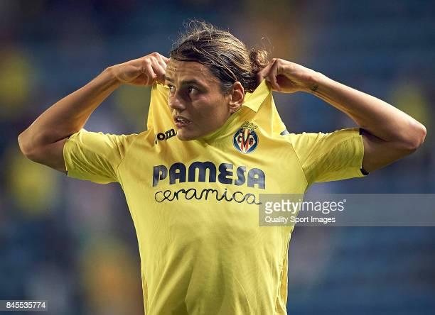 Enes Unal of Villarreal reacts during the La Liga match between Villarreal CF and Real Betis at Estadio de la Ceramica on September 10 2017 in...