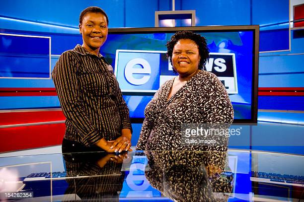 eNews presenters in the eNews studio in Johannesburg South Africa on March 22 2012 eNews is South Africa's first 24 hour news channel broadcasted by...