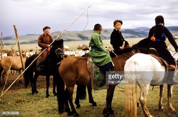 Enfants gardant un troupeau de chevaux en Mongolie
