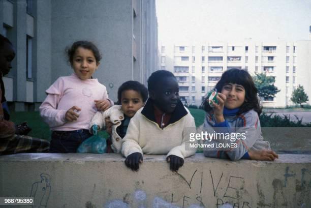 Enfants immigrés, le 14 octobre 1984, à Aulnay sous Bois, France.