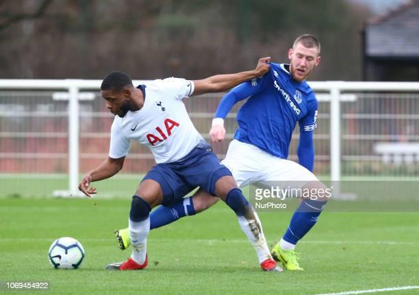 Enfield December 07 2018 LR Japhet Tanganga of Tottenham Hotspur and Jose Butler of Everton Under 23s during Premier League 2 match between Tottenham...