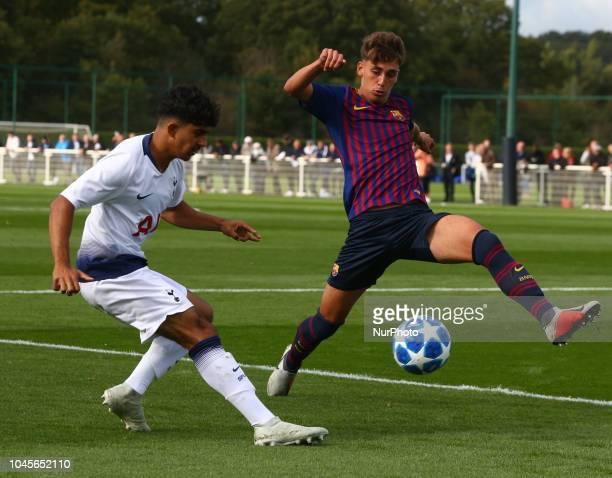 Enfield UK 03 October 2018 Dilan Markanday of Tottenham Hotspur during UEFA Youth League match between Tottenham Hotspur and FC Barcelona at Hotspur...