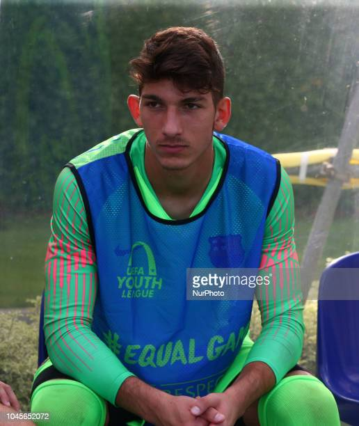 Enfield UK 03 October 2018 Pol Tristan Jimenez of Barcelona during UEFA Youth League match between Tottenham Hotspur and FC Barcelona at Hotspur Way...