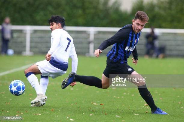 Enfield UK 28 November 2018 LR Dilan Markanday of Tottenham Hotspur and Niccolo Corrado of Inter Milan during UEFA Youth League match between...