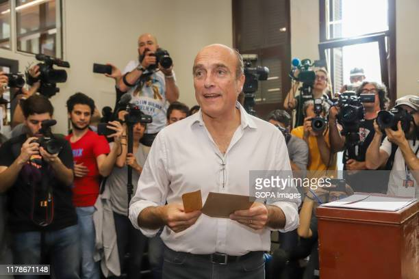 Eng. Daniel Martinez, candidate for the Frente Amplio party casts his vote in Montevideo. The National party and the Frente Amplio party will go to...