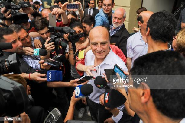 Eng. Daniel Martinez, candidate for the Frente Amplio party speaks to the press after voting in Montevideo. The National party and the Frente Amplio...