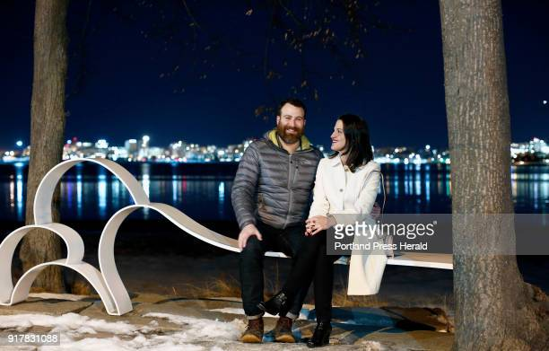 Engaged couple Andrew Vellani and Tara Hilt of Portland pose for a portrait on Back Cove Trail on Monday night The two have been together off and on...