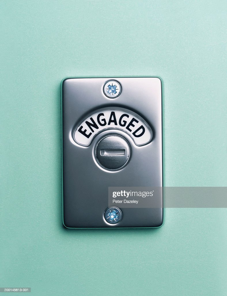 'Engaged' lock, close up : Stock Photo