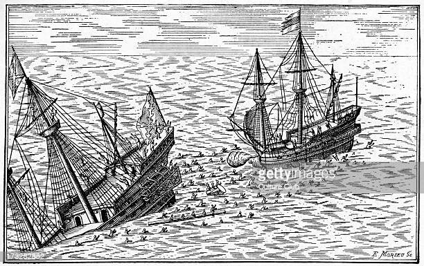 Engagement between Spanish galleon and Dutch ship