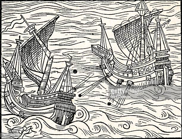 Engagement Between Two Merchant Ships Off The Coast of Iceland' 1555 From Old Ship Prints by E Keble Chatterton [John Lane The Bodley Head Limited...