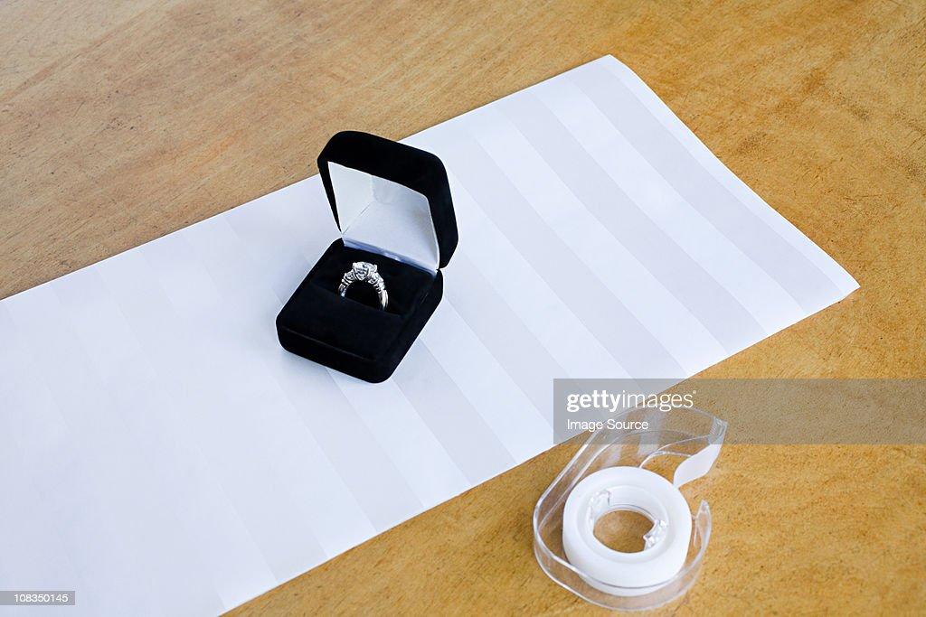 Engagement ring gift : Stock Photo
