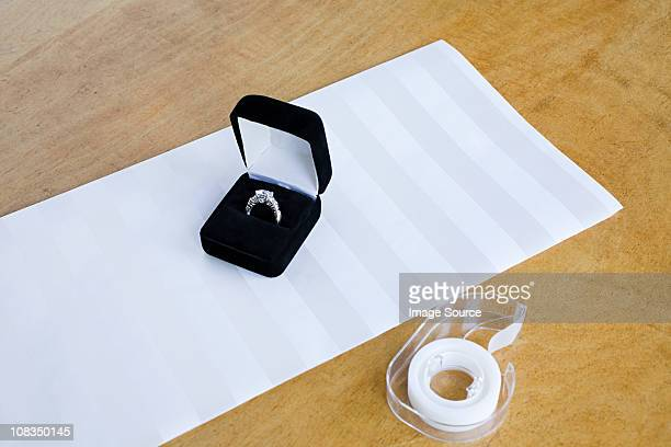 engagement ring gift - engagement ring box stock photos and pictures