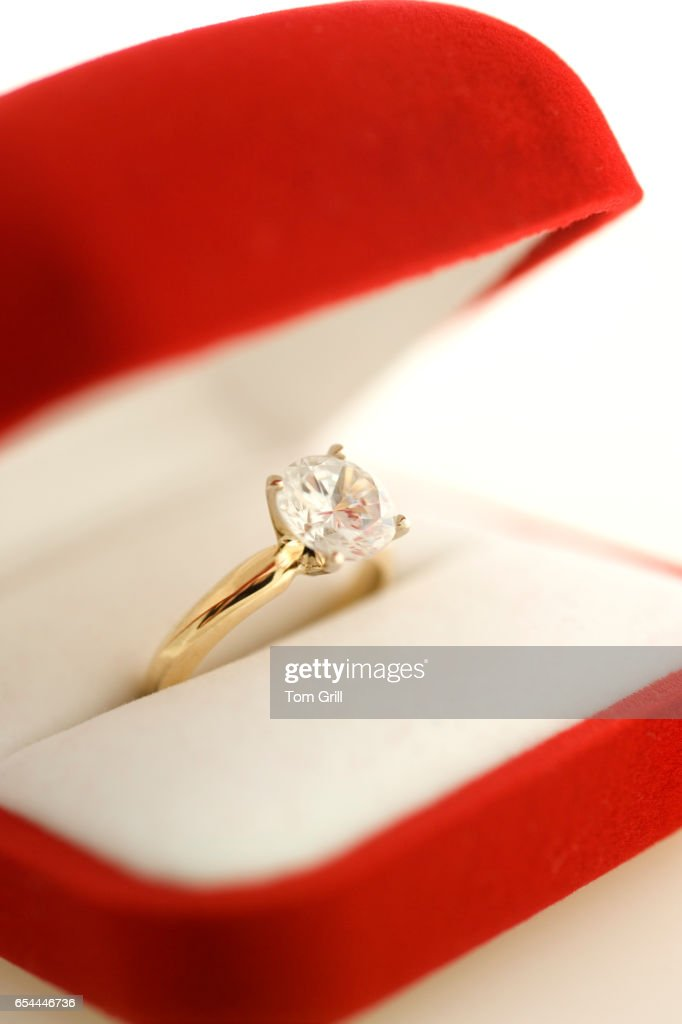 Engagement Ring in Red Box : Stock Photo