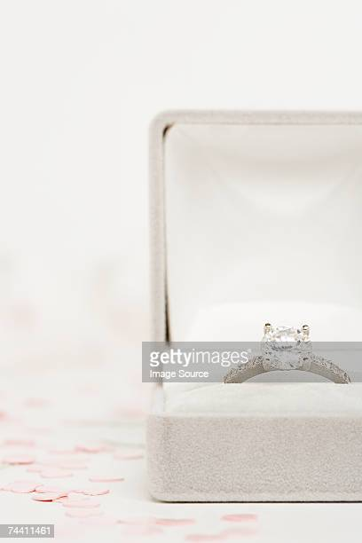 engagement ring - engagement ring box stock photos and pictures