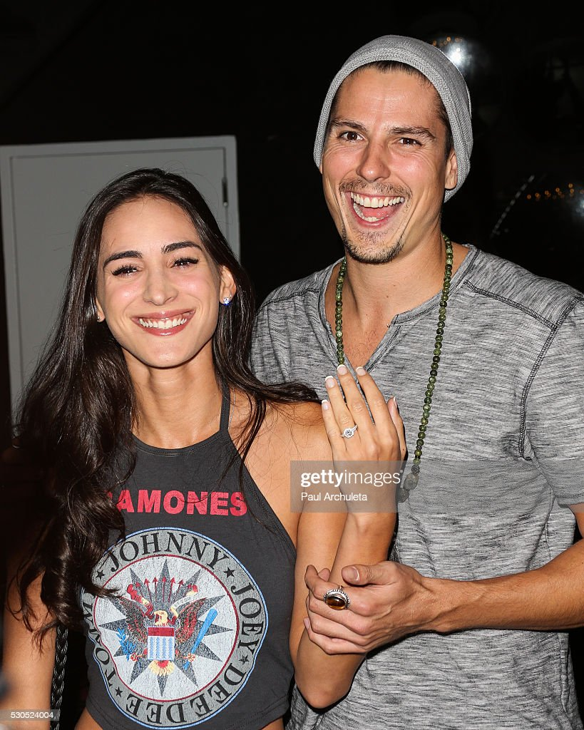,Engagement Rings Detail, Actors Cherie Jimenez (L) and Sean Faris (R) attend the launch of '6 Bullets To Hell' the video game and the movie on May 10, 2016 in Los Angeles, California.