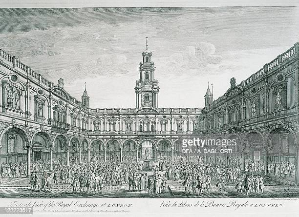 Engalnd 18th century London Stock Exchange Square Engraving