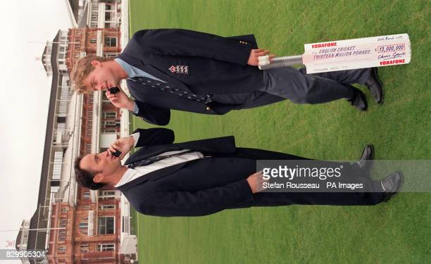 Engalnd cricketers Nasser Hussain and Nick Knight at Lord's cricket ground London this morning where Vodaphone announced their 13000 sponsorship of...
