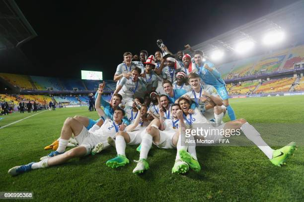 Engalnd players celebrate with the trophy after the FIFA U20 World Cup Korea Republic 2017 Final match between Venezuela and England at Suwon World...