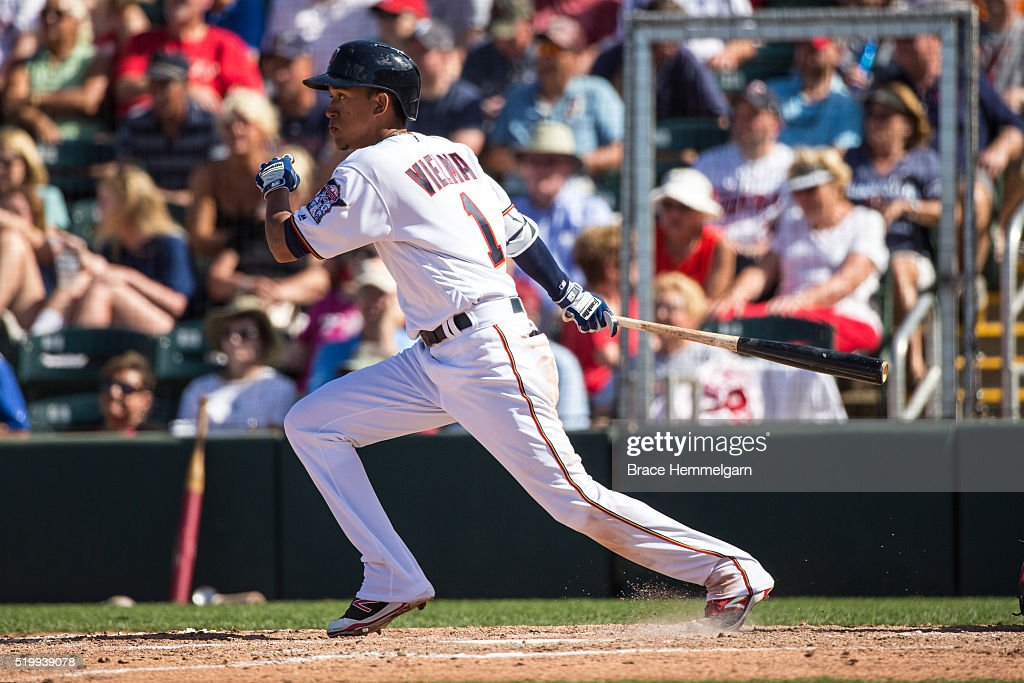 Engelb Vielma #1 of the Minnesota Twins bats against the Philadelphia Phillies during a spring training game on March 9, 2016 at Hammond Stadium in Fort Myers, Florida.